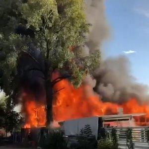 Мощный пожар на Гидропарке в Киеве: фото, видео